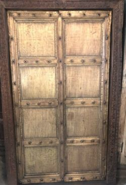 19th century brass plated shutter door, shekawati <b>sold<b>